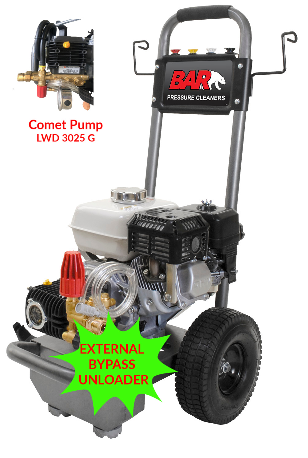 6.5hp Honda GX200 High Pressure Washer | Recoil Start | COMET Pump | With EXTERNAL Pressure Adjustable Bypass Unloader