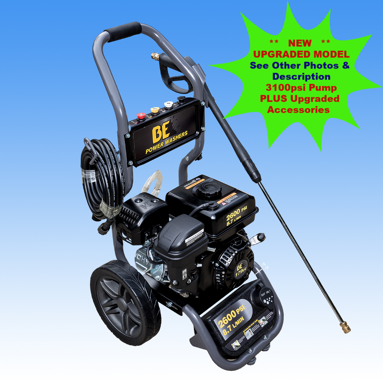 6.0hp BE Power Ease Petrol Engine High  Pressure Washer With BE 3100psi Pump| 9 L|Min | Recoil Start