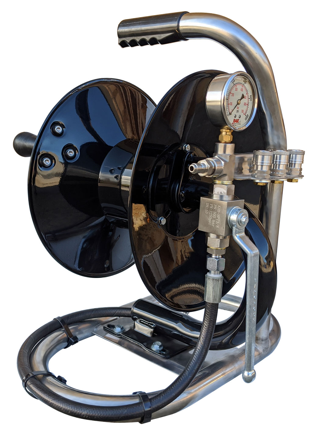 60 Metre Jetter Mini Reel | With Shut Off Valve and Gauge
