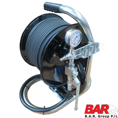 Jetter Mini Reel Plus 60 Metre 1|4 Inch Jetting Hose With Shut Off Valve and Gauge