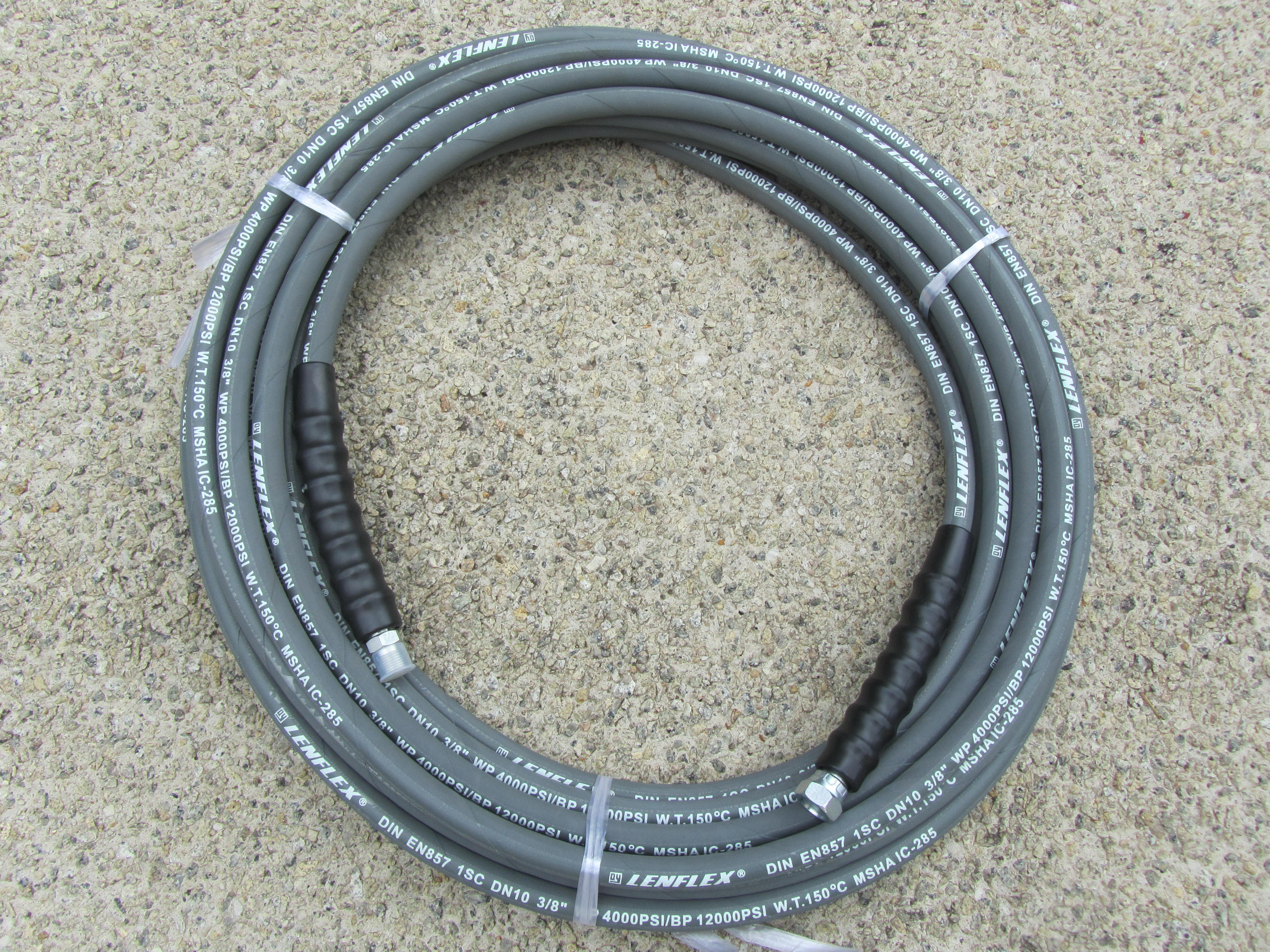 15 Metre 3|8 Inch 4000psi Grey Single Wire Low Marking M & F