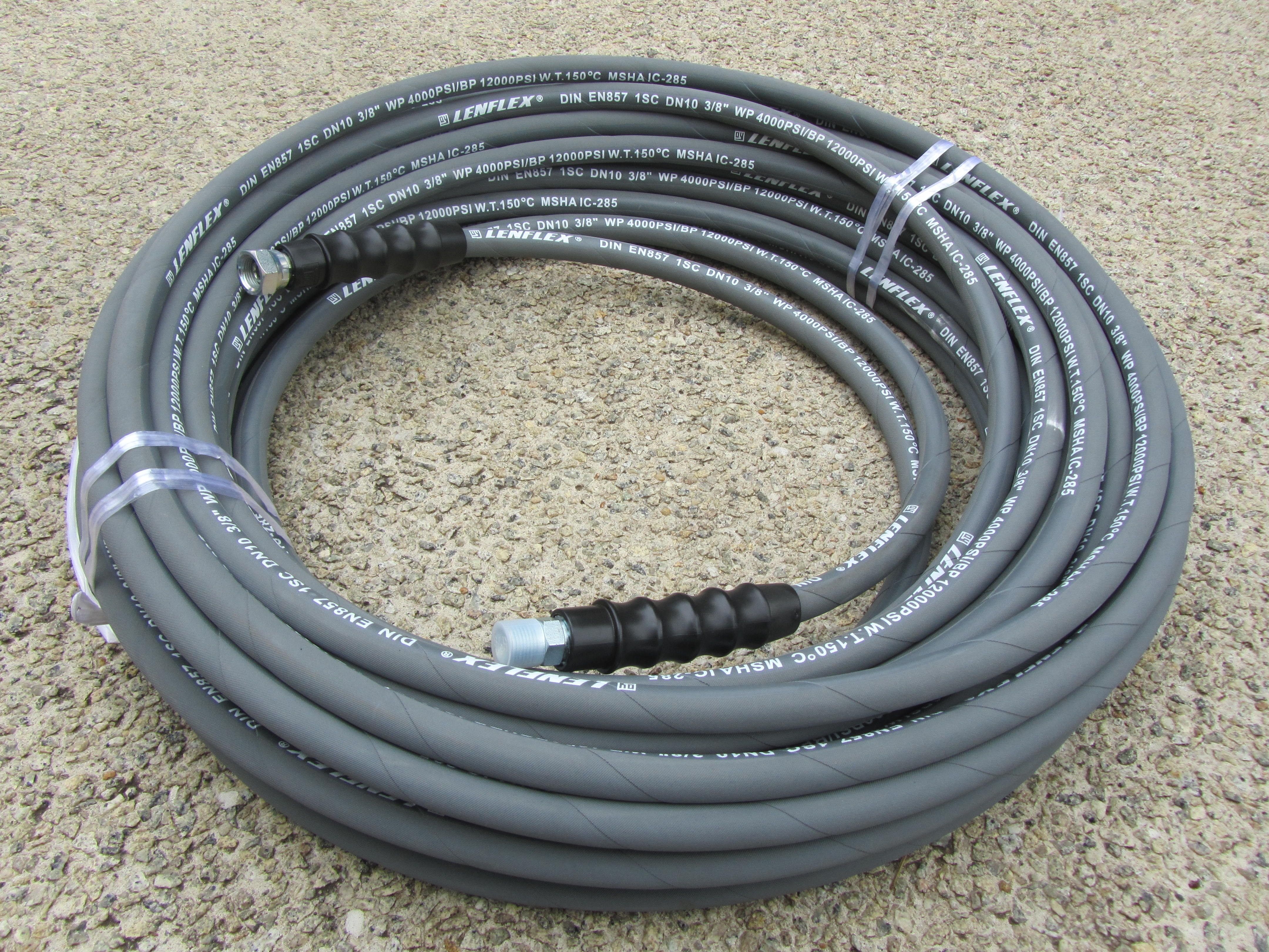 30 Metre 3|8 Inch 4000psi Grey 1 Wire Low Marking M & F