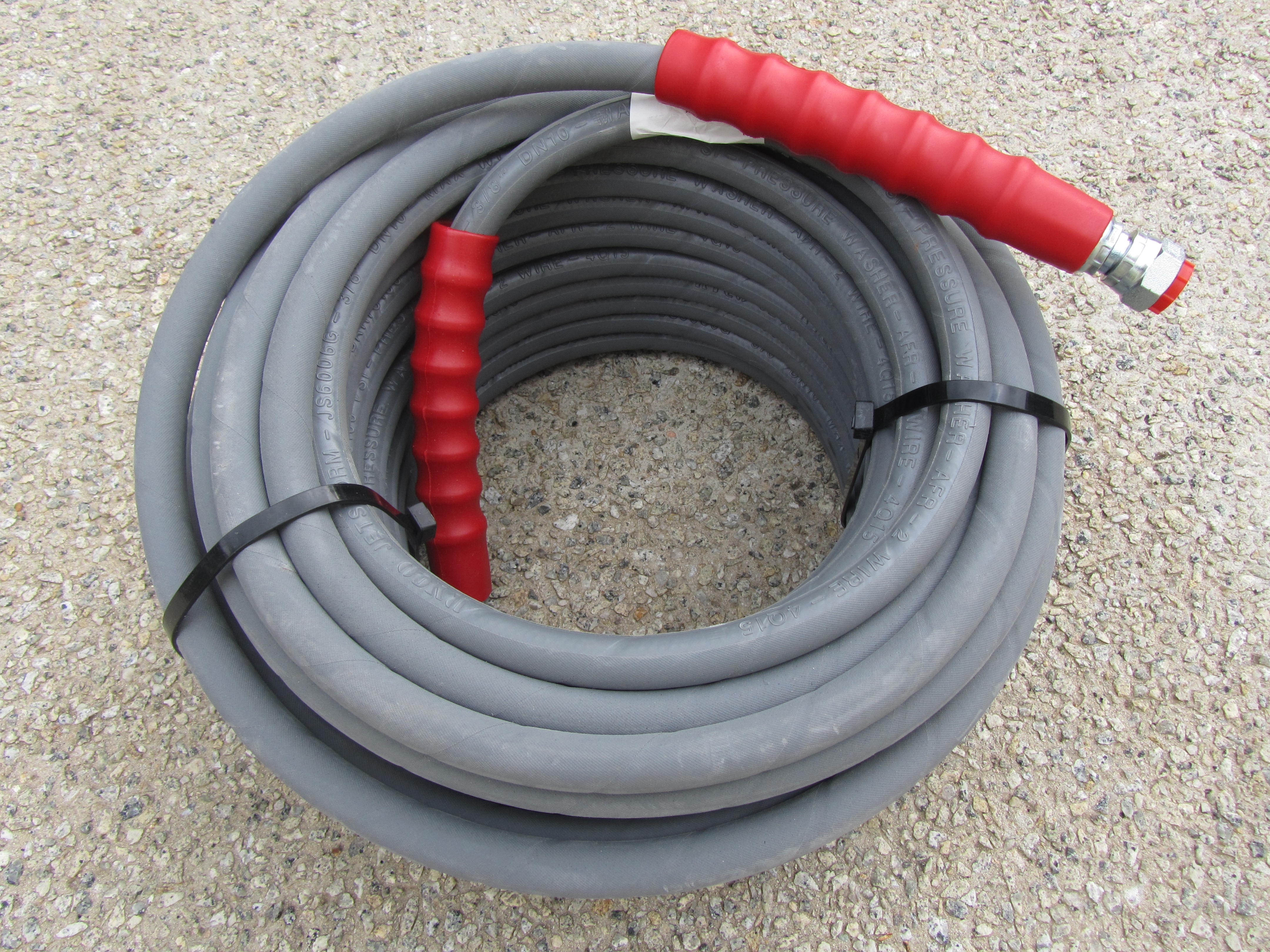 30 Metre Grey 3|8 Inch 6000psi 2 Wire Low Marking M and F Hose
