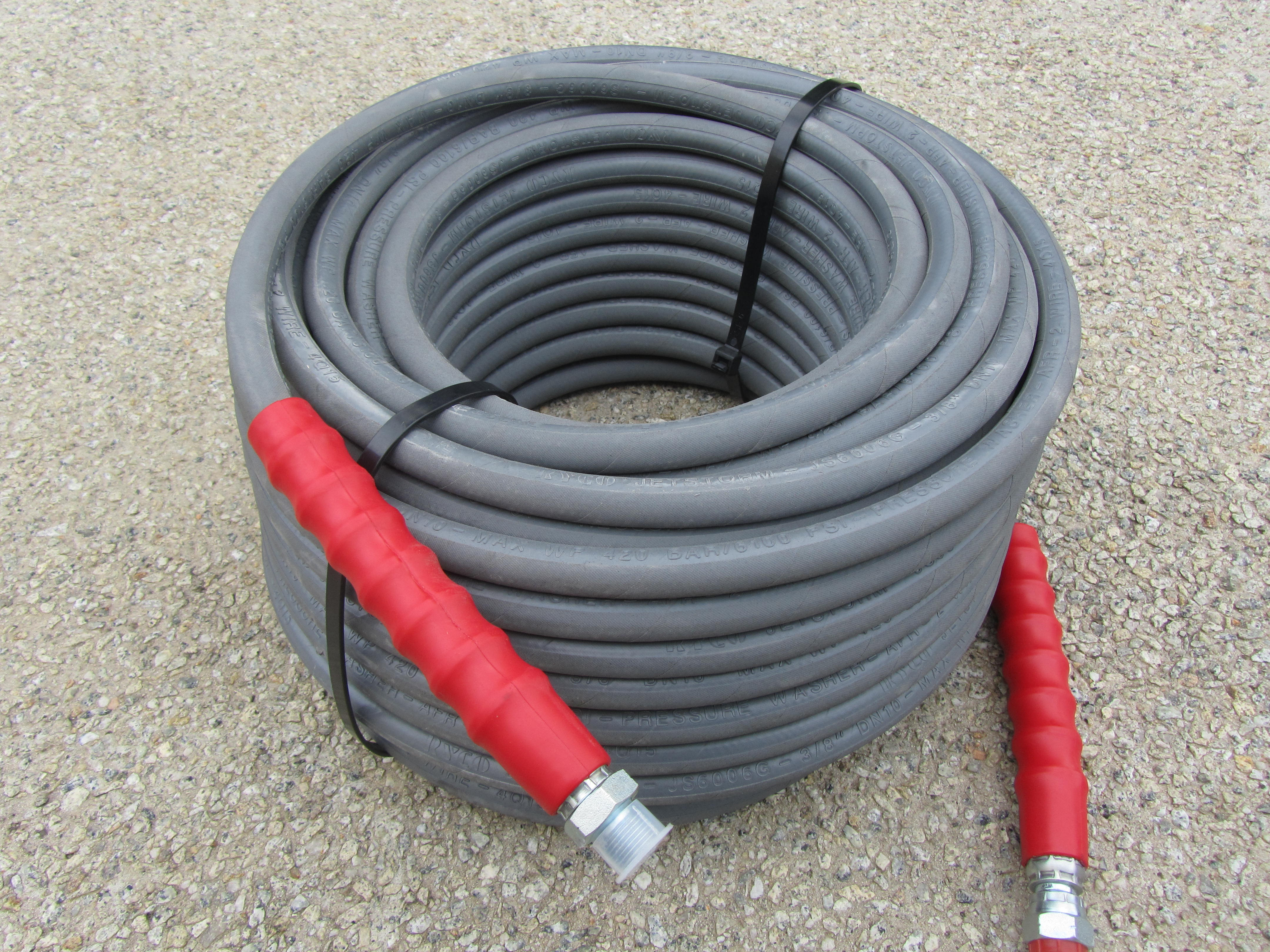 40 Metre Grey 3|8 Inch 6000psi 2 Wire Low Marking M and F Hose
