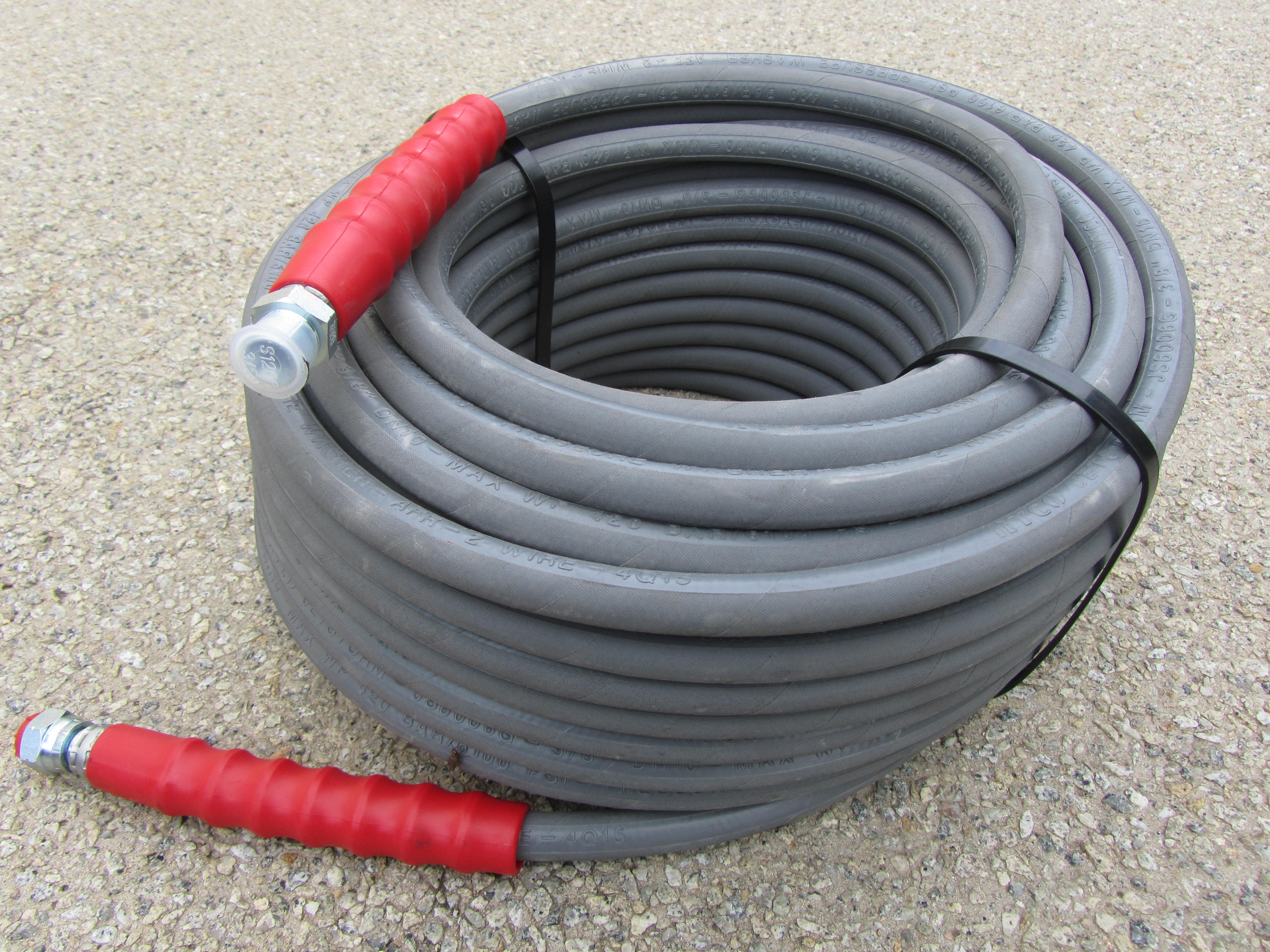 60 Metre Grey 3|8 Inch 6000psi 2 Wire Low Marking M & F Hose